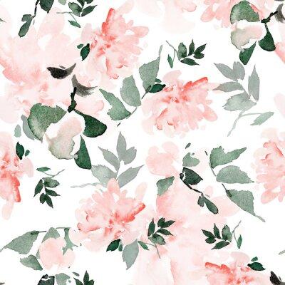 Bild Seamless summer pattern with watercolor flowers handmade.