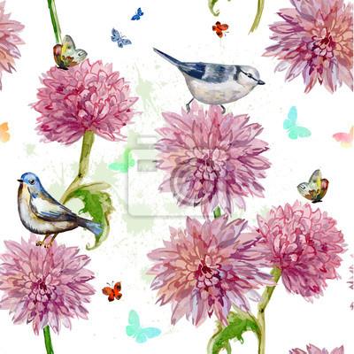 Seamless Texture Watercolor Spring Flowers Chrysanthemum
