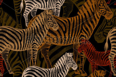 Bild Seamless vector pattern with African animals. Colored Zebra on a black background. Template to create fabric, Wallpaper, paper, textiles, curtains, design summer clothes in the style of Safari.