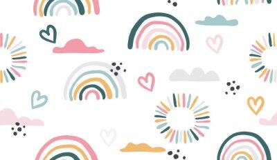 Bild Seamless vector pattern with hand drawn rainbows and sun.