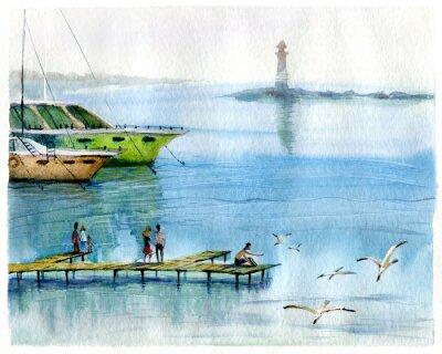 Bild Seascape, Yachten, Aquarell