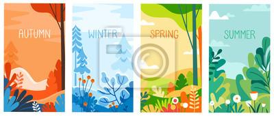 Bild Seasonal vertical banners for social media stories wallpaper - autumn, winter, spring and summer landscapes