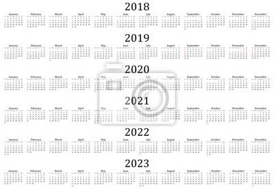 Sechs jahreskalender - 2018, 2019, 2020, 2021, 2022 und 2023 ...