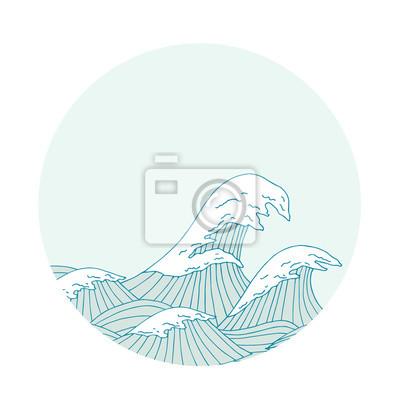 Seewellen handgezeichnete Skizze, japanische Artabbildung