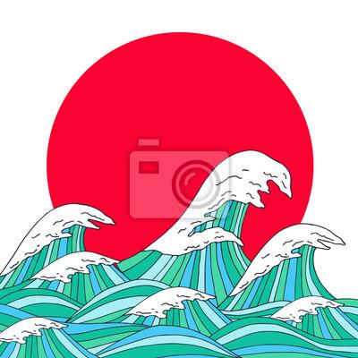 Seewellen und Sonne Hand gezeichnete Skizze, japanische Artabbildung