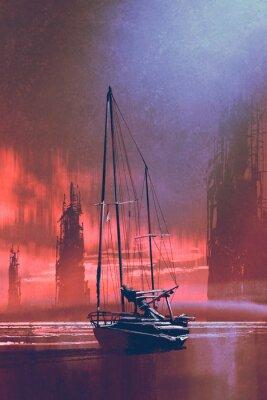 Bild Segelboot am Strand gegen verlassene Gebäude im Meer bei Sonnenuntergang mit digitalem Kunststil, Illustration Malerei