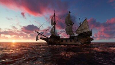 Bild Segelboot in Meer am Abend an der Illustration des Sonnenuntergangs 3d