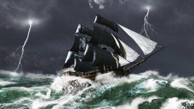 Segelschiff in einem Blitz-Sturm