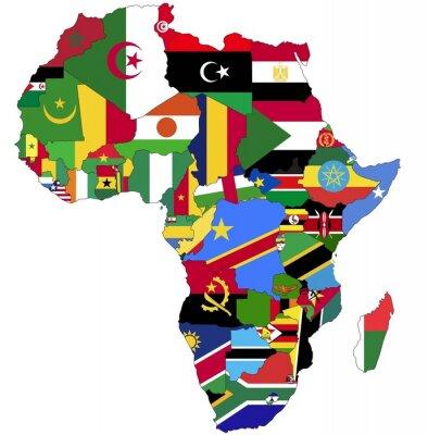 Bild Sehr Detaillierte Afrika-Karte mit Länderflaggen.