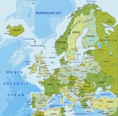 Bild Sehr detaillierte editierbare politische Karte. Europa.