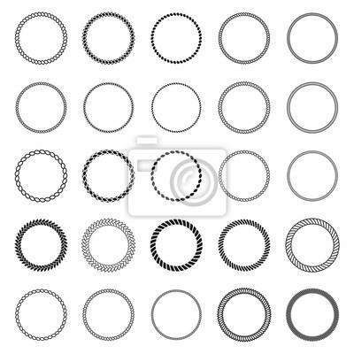 Bild Seilrahmen Set von runden Vektor-Frames aus Segel. Runder Seeschiff für die Dekoration