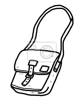 Bild: Seite tasche cartoon vektor und illustration, schwarz und weiß,