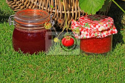 Selbstgemachte Marmelade Auf Wiese In Natürlicher Umgebung