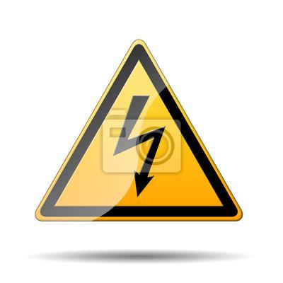 Señal Amarilla peligro descarga electrica