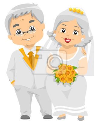 Senior Couple Goldene Hochzeit Bouquet Leinwandbilder Bilder