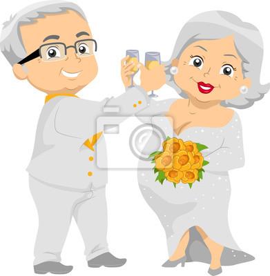 Seniorenpaar Goldene Hochzeit Champagner Leinwandbilder