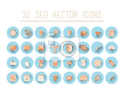 Seo-und Business-Symbole auf blauen Kreise