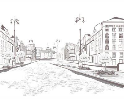 Bild Serie von Straßenblick in der Altstadt, Skizze