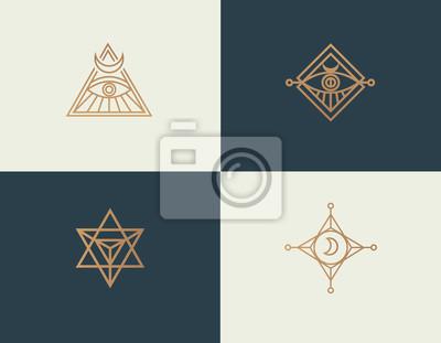 Bild Set abstract linear isoteric logos golden mystical symbols