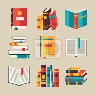 Bild Set Buchsymbole in flachen Design-Stil.