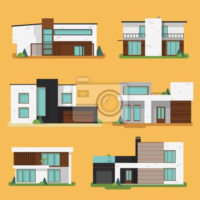 Bild Set Bunte Moderne Wohnhäuser. Flache Design Vektor Konzept  Illustration.