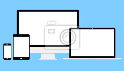 Bild Set Computer, Laptop, Tablet, Telefon. Vektorbild