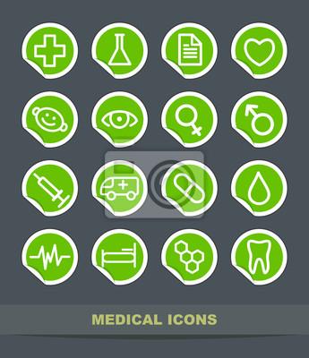 Set einfache medizinische Symbole auf Aufklebern