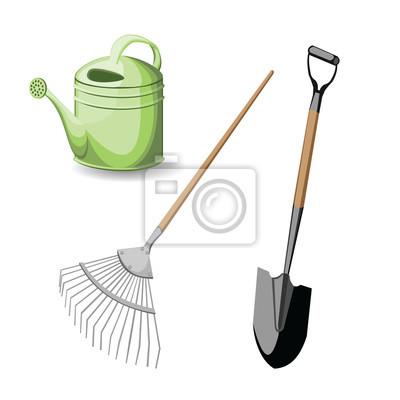 Set Garten Werkzeug Vektor Illustration Auf Weißem Hintergrund