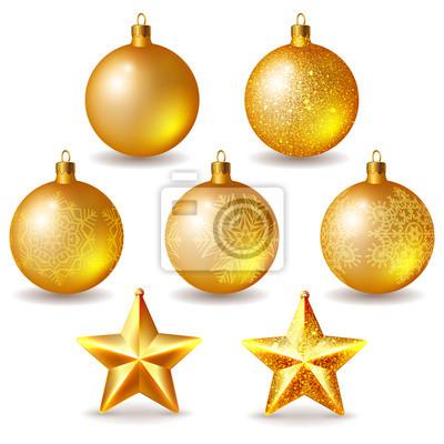 Goldene Weihnachtskugeln.Bild Set Goldene Weihnachtskugeln Und Sternen Auf Weiß Isoliert