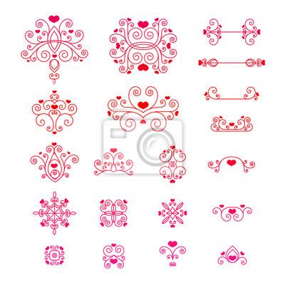Set kalligraphische design-elemente valentinstag und seite ...