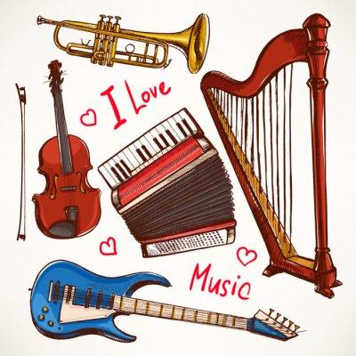 Bild Set mit handgezeichneten Musikinstrumente