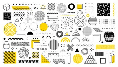 Bild Set of 100 geometric shapes. Memphis design, retro elements for web, vintage, advertisement, commercial banner, poster, leaflet, billboard, sale. Collection trendy halftone vector geometric shapes.