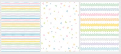 Bild Set of 3 Cute Abstract Geometric Vector Patterns. Light Multicolor Design. Stripes, Triangles and Waves. White Background. Irregular Infantile Style Waves. Blue, Pink, Yellow, Green and White Design.