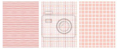 Bild Set of 3 Hand Drawn Irregular Geometric Patterns. Horizontal White Stripes on a Pink Background. Pink and Beige Grid on a White. White Grid on a Pink. Cute Infantile Repeatable Design.