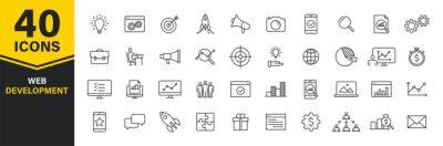 Bild Set of 40 Web development web icons in line style. Marketing, analytics, e-commerce, digital, management, seo. Vector illustration.