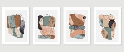 Bild Set of abstract art background vector. Watercolor hand painted illustration for wall art, Wall decoration, poster, canvas prints, postcard and cover design.
