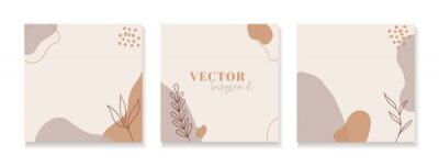 Bild Set of abstract floral backgrounds for instagram posts. Vector trendy minimal templates in boho style with copy space for text