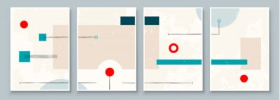 Bild Set of Abstract Geometric Wall Art. Mid Century Illustration in Minimal Style for Wall Decoration Background. Modern art vector Illustration
