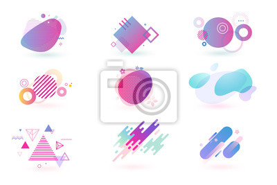 Bild Set of abstract graphic design elements. Vector illustrations for logo design, website development, flyer and presentation, background, cover design, isolated on white.