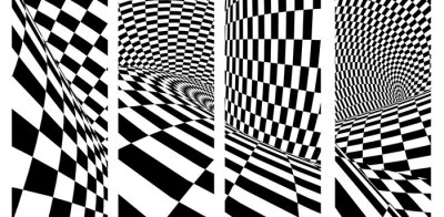Set of banners with geometric checkered pattern