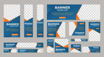 Bild Set of business web banner templates wtih different standard size. Abstract corporate horizontal, vertical, square ad banner with place for images. Vector EPS