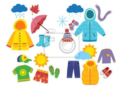 Bild set of children's season clothes - vector illustration, eps
