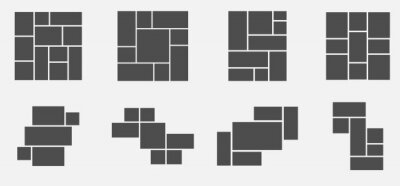 Bild Set of collage for photos or images. Vector template empty frames. Creative mockup.