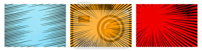 Bild Set of color radial lines comics style background. Manga action, speed abstract. Vector illustration. Isolated on white background