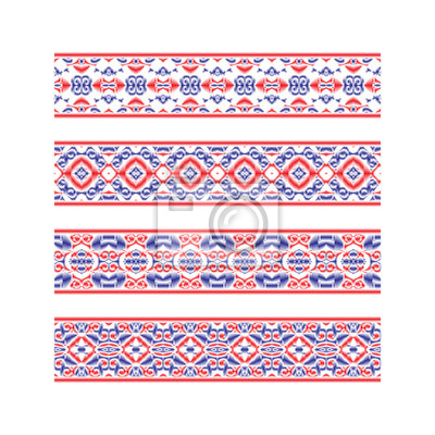 Set of colored ribbon patterns. Blue red traditional ornaments for embroidery or frame design.