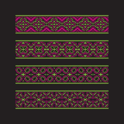 Set of colored ribbon patterns. Green pink traditional ornaments for embroidery or frame design. Vector patterned brushes templates.