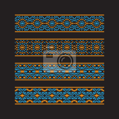 Set of colored ribbon patterns. Orange blue traditional ornaments for embroidery or frame design. Vector patterned brushes templates.
