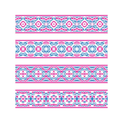 Set of colored ribbon patterns. Pink blue traditional ornaments for embroidery or frame design. Vector patterned brushes templates.