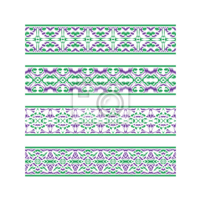 Set of colored ribbon patterns. Purple green traditional ornaments for embroidery or frame design. Vector patterned brushes templates.