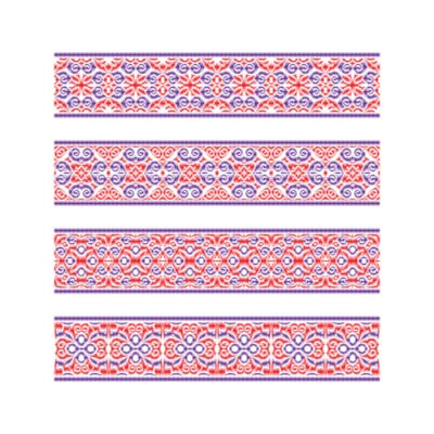 Set of colored ribbon patterns. Red purple traditional ornaments for embroidery or frame design. Vector patterned brushes templates.
